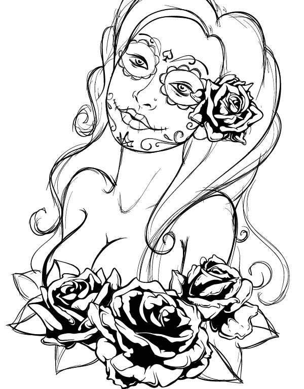 Create A Tattoo Style Grunge Day Of Dead Girl Poster In Illustrator