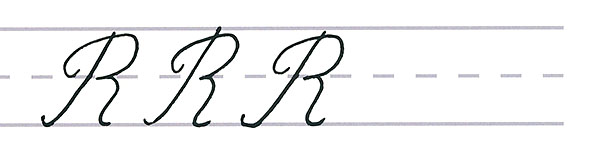 cursive calligraphy - capital r multiples