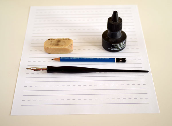cursive calligraphy - supplies