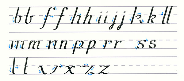 roundhand script - downward stroke lowercase letters