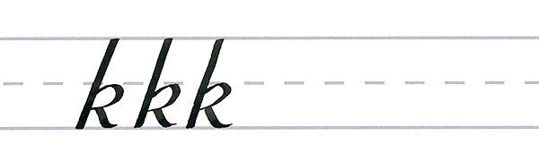 roundhand script - letter k multiples
