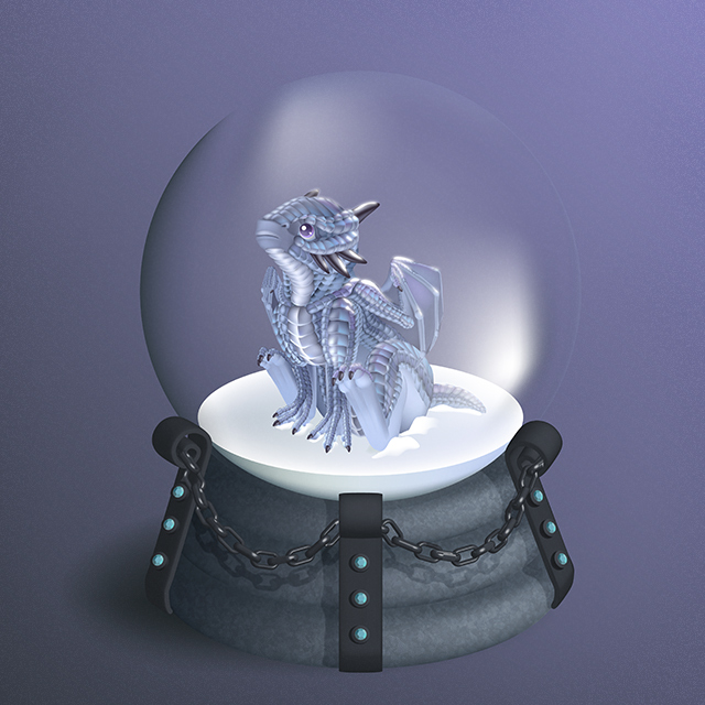 Dragon in a snow globe: how to vector a baby dragon