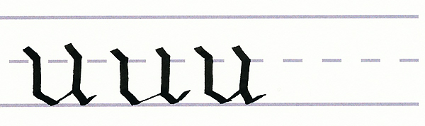 gothic script - letter u multiples