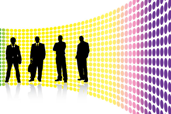funky background with vector business people