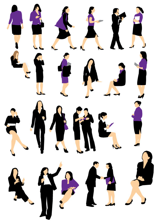 free business women silhouettes