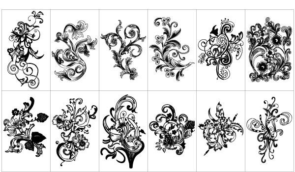 70 Graphics Gratis Vintage Vector Flowers Dan Floral Ornament Set