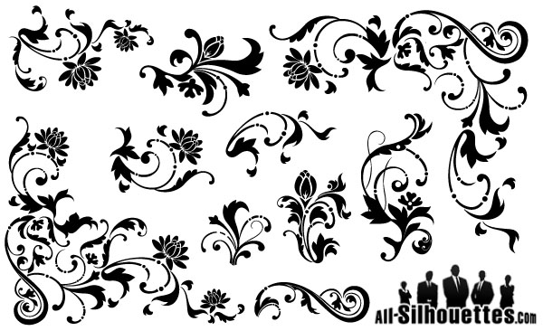 70+ Free Graphics: Vintage Vector Flowers and Floral Ornament Sets