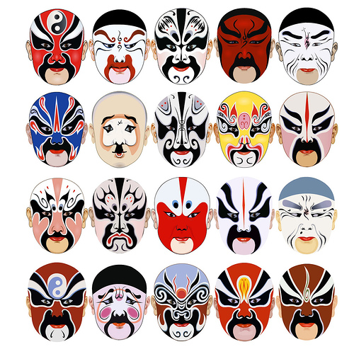 50 diverse vector masks from across the globe for Kabuki mask template