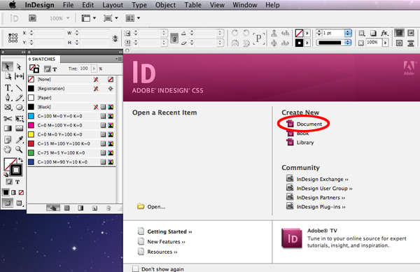 Quick tip designing a business card with indesign cs5 back to the computer once the design has been roughly drawn up open indesign and choose create a new document from the opening screen wajeb Choice Image