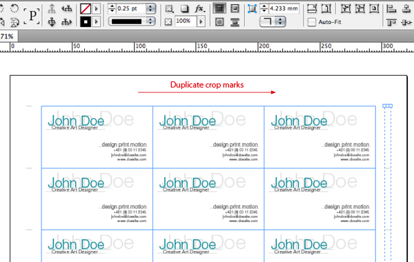 Quick tip how to impose business cards for digital printing with group vertical crop marks command g and duplicate them holding shift move them to the right of the document page next to the business cards reheart Images