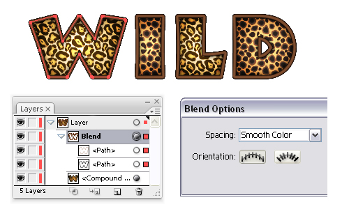 go to object menu blend blend options and choose smooth color then go back to object blend and select make continue with the rest of the letters - Animal Pictures Print Color