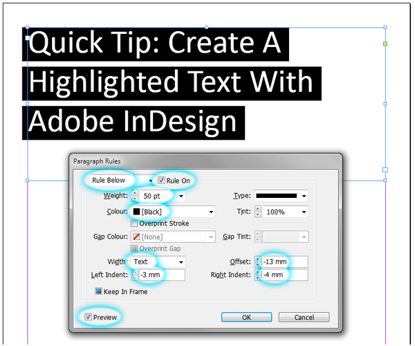 quick tip create a highlighted text effect with adobe indesign