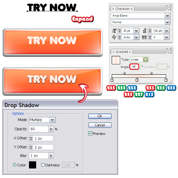 how to give text a 3d shadow in illustrator
