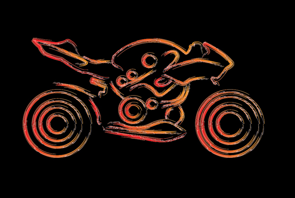 Quick tip: how to draw a stylized motorcycle with complex brushes