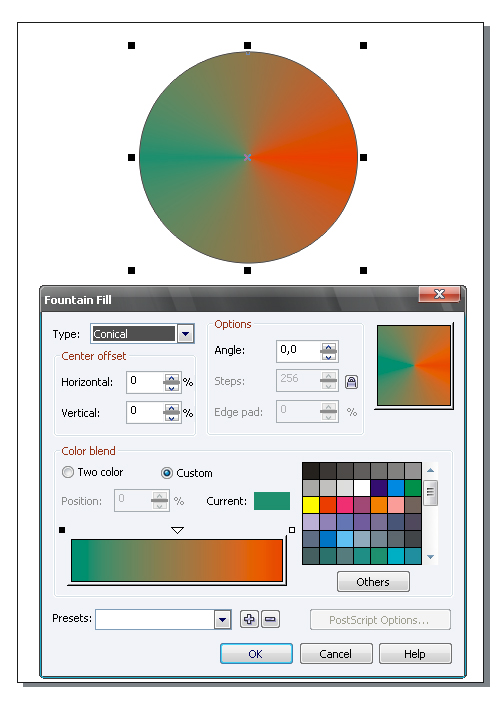 Quick tip create a conical gradient with adobe illustrator in two unfortunately adobe illustrator does not contain a conical gradient so far although some vector graphics editors such as corel draw do ccuart Images