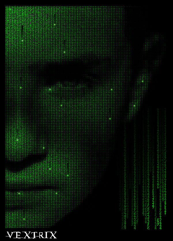 Create A Sci Fi Vector Portrait Made Of Symbols