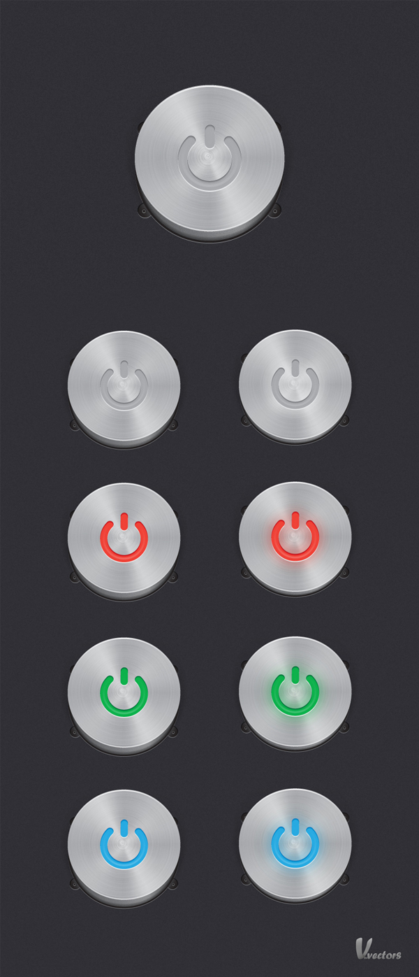 Create a Steel, Vector Power Button Set