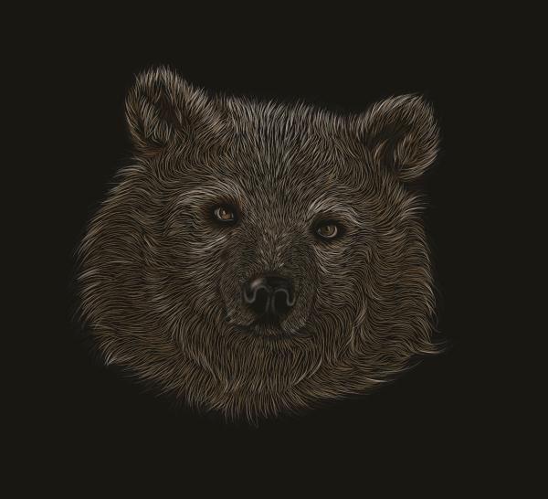 Link toHow to create a scratchboard effect bear portrait