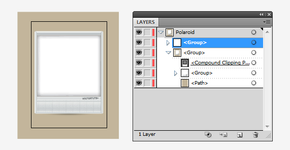 then cut out the background rectangle by creating a clipping mask command 7 with the polaroid frame group