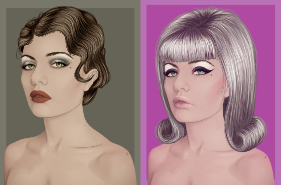 Link toChanging hair and makeup to create a retro style in vector portraits