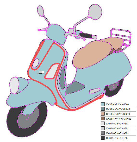 Drawing Vector Lines In Illustrator : How to create a line art vintage vector scooter in illustrator