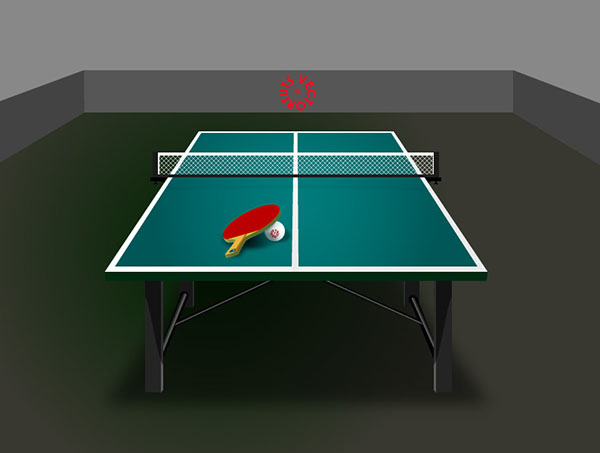 Here is the final result of our table tennis set complete with ping-pong paddle ball and small sporty table. & How to Make a Table Tennis Vector Illustration