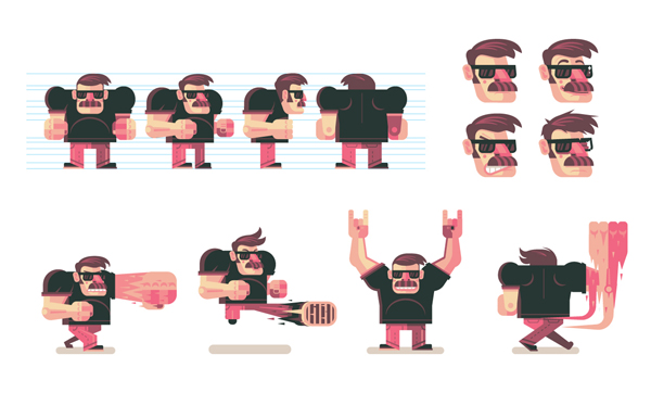 Character Design Illustration : How to design and vector a set of character poses for
