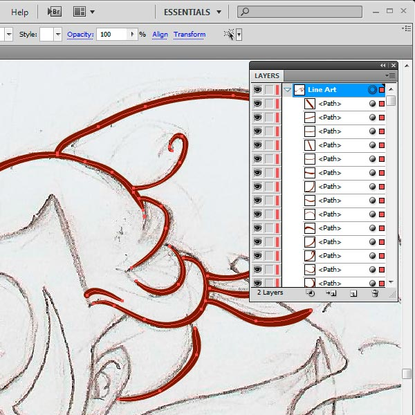 Line Art Using Pen Tool : How to use brushes in adobe illustrator ink a sketch