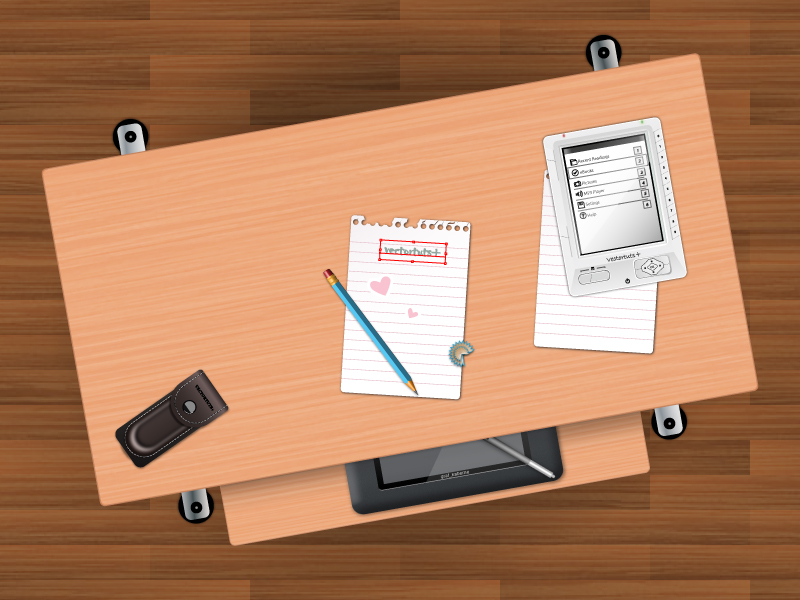Link toCreate a students desk in top view using simple shapes and textures