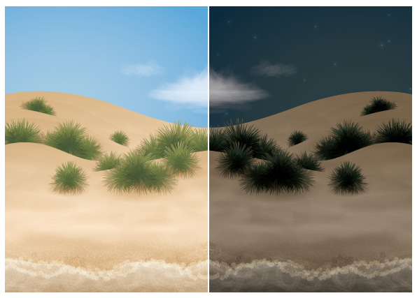 Link toGo from day to night with a beach scene in adobe illustrator