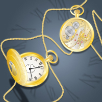 Preview for Draw a Glowing, Vector Pocket Watch - Front and Back