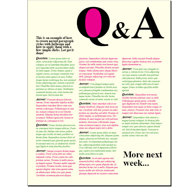 Creating A Question And Answer Format With Indesign Nested