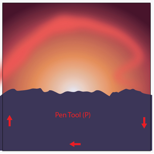 How to illustrate a luminous vector sunset enclose the mountain outline with the pen tool p fill the mountain outline with a dark blue color r59 g52 b86 fandeluxe Images