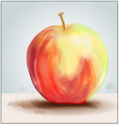 Create a painterly apple with illustrator cs5s new bristle brush fandeluxe Image collections