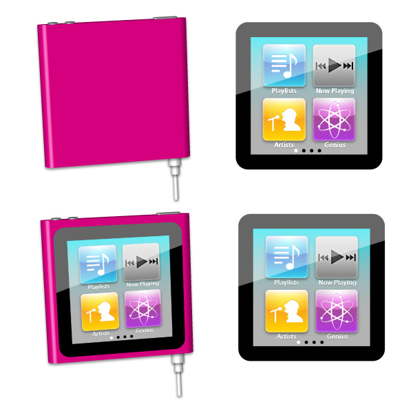 Make an ipod nano using illustrator's 3d effects
