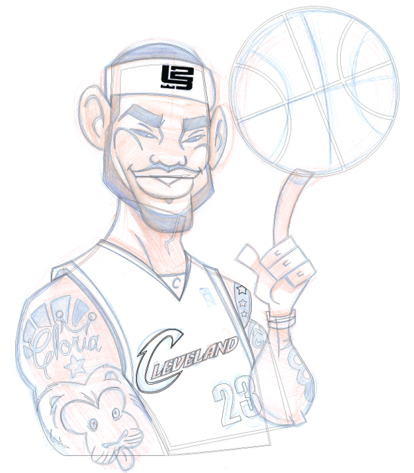 how to illustrate a lebron james cartoon character