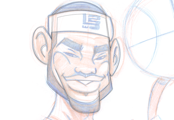 Line Drawing Cartoon Face : To illustrate a lebron james cartoon character