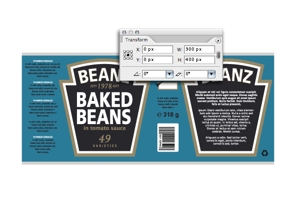 Create a can of beans by mapping vectors to a 3d object for Heinz label template