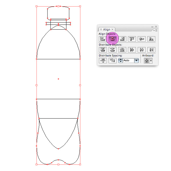 working with 3d objects and transparencies to make a vector cola bottle design