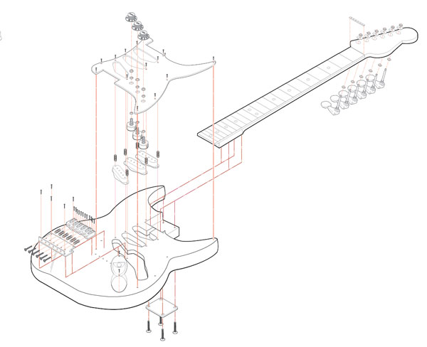 Isometric Guitar Illustration