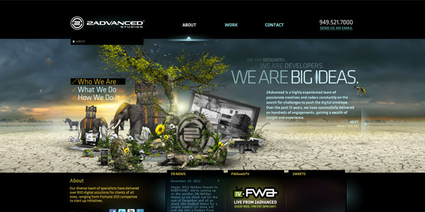 Screenshot of the 2Advanced studio website.