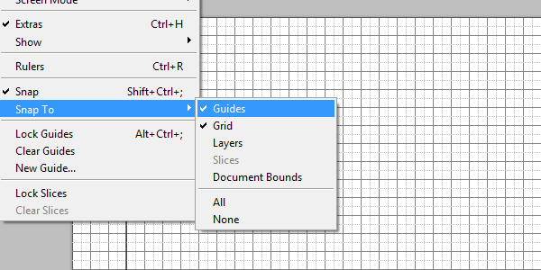 Setting up photoshop grid