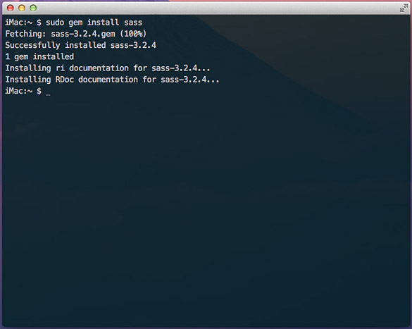 Terminal output for Sass gem installation