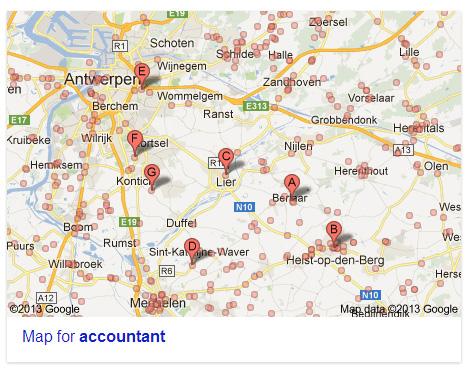 谷歌的本地搜索地图