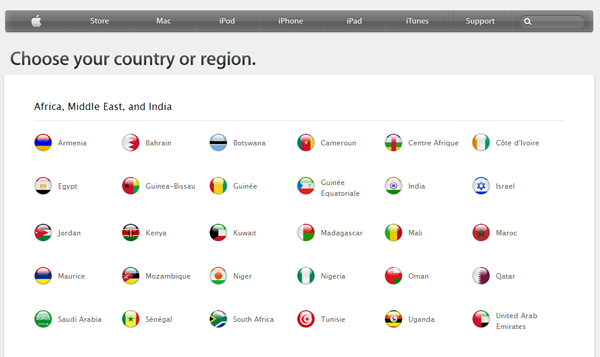 apple international landing page