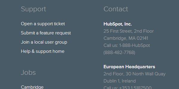hubspot contact footer