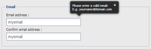 form validation pop up