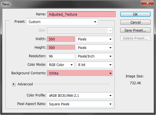 New Document 500px x 500px, White Background