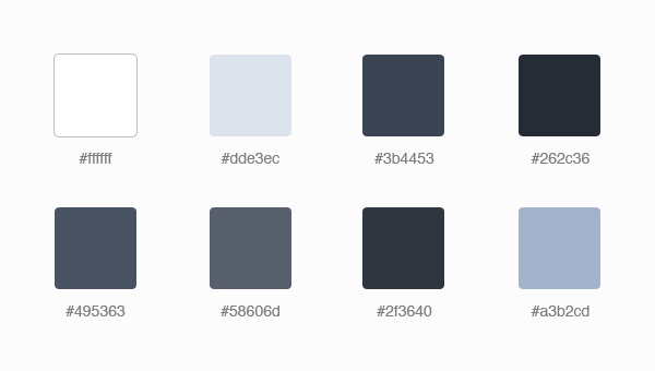 Eight main colours we're using for our design