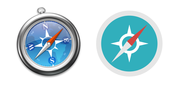 Safari's current icon on the left versus .app.icns's flat version.